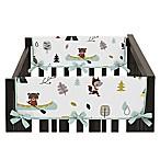 Sweet Jojo Designs Outdoor Adventure Short Crib Rail Guard Covers in Aqua/White (Set of 2)