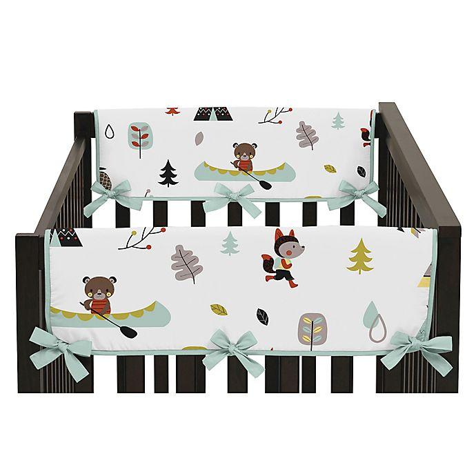 Alternate image 1 for Sweet Jojo Designs Outdoor Adventure Short Crib Rail Guard Covers in Aqua/White (Set of 2)
