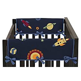 Sweet Jojo Designs Space Galaxy Reversible Side Crib Rail Covers in Navy/Green (Set of 2)