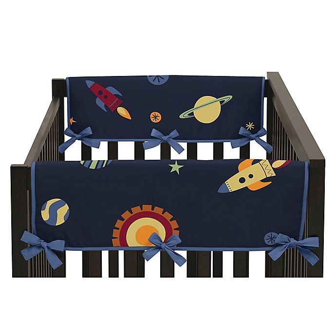 Alternate image 1 for Sweet Jojo Designs Space Galaxy Reversible Side Crib Rail Covers in Navy/Green (Set of 2)