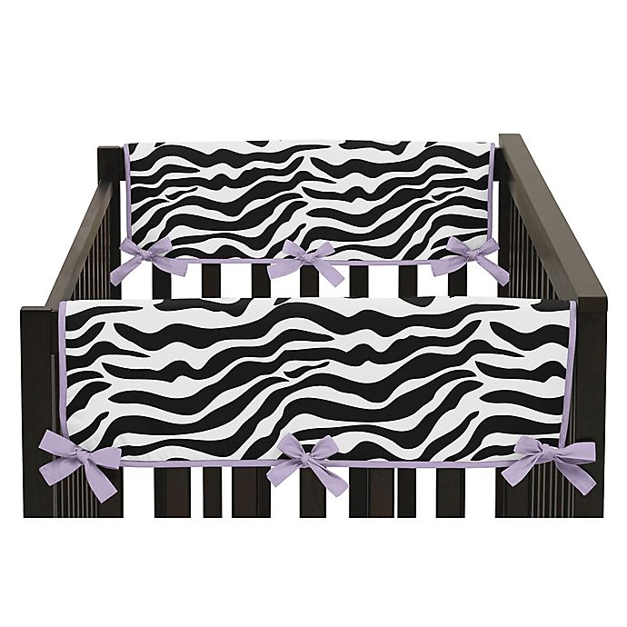 Alternate image 1 for Sweet Jojo Designs Funky Zebra Side Crib Rail Covers in Purple/White (Set of 2)