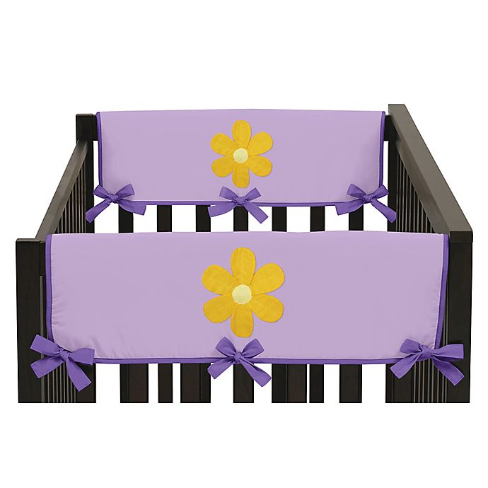Alternate image 1 for Sweet Jojo Designs Danielle's Daisies Side Crib Rail Guard Covers in Purple/Orange (Set of 2)