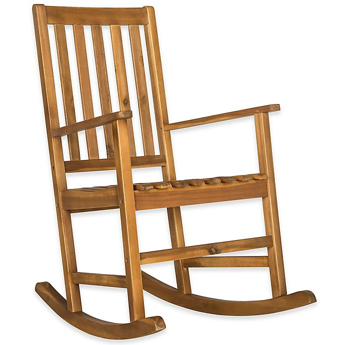 Safavieh Barstow All Weather Acacia Wood Rocking Chair In Teak Bed