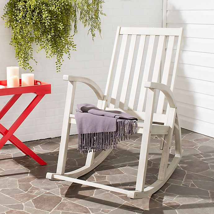 Alternate image 1 for Safavieh Clayton All-Weather Acacia Wood Rocking Chair in White Wash