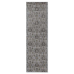 KAS Allover Kashan Provence 2-Foot 2-Inch x 6-Foot 11-Inch Runner in Silver