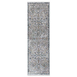 KAS Provence Mahal 2-Foot 2-Inch x 6-Foot 11-Inch Runner in Silver/Blue
