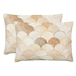 Safavieh Elita Scallop Cowhide Oblong Throw Pillows (Set of 2)