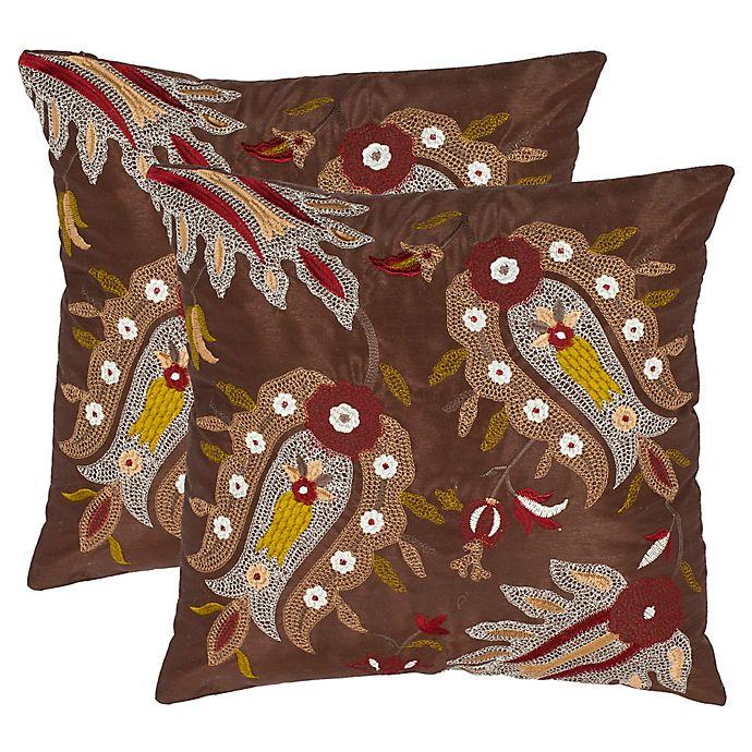 Alternate image 1 for Safavieh Skipper Square Throw Pillows in Chestnut (Set of 2)