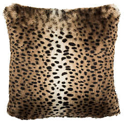 Safavieh Leopard Print Square Throw Pillow in Black/Brown
