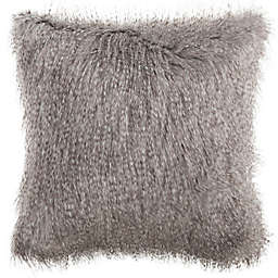 Safavieh Faux Luxe Peacock Square Throw Pillow in Grey
