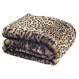 Safavieh Leopard Print Throw Blanket in Black Leopard