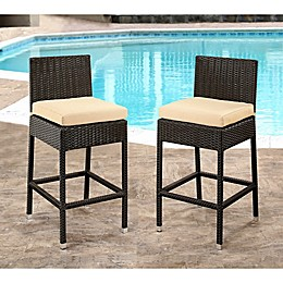 Abbyson Living® Cailen Set of 2 Outdoor Wicker Bar Stools with Cushions in Espresso/Beige
