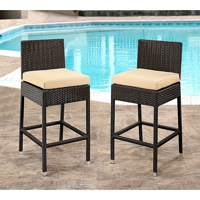 Alternate image 1 for Abbyson Living® Cailen Set of 2 Outdoor Wicker Bar Stools with Cushions in Espresso/Beige