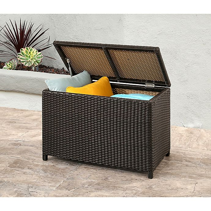 Alternate image 1 for Abbyson Living® Provence Outdoor Wicker Storage Ottoman in Espresso