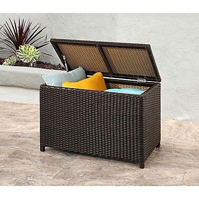Abbyson Living® Provence Outdoor Wicker Storage Ottoman in Espresso