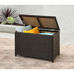 Abbyson Living® Provence Outdoor Wicker Storage Ottoman in Espresso
