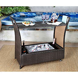 Abbyson Living® Charlene Outdoor Wicker Wheeled Bar Cart in Espresso
