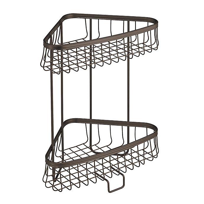 Alternate image 1 for iDesign® York Lyra 2-Tier Corner Storage Shelf in Bronze