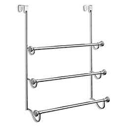 iDesign® York 3-Tier Over-the-Door Towel Rack in Brushed Stainless Steel