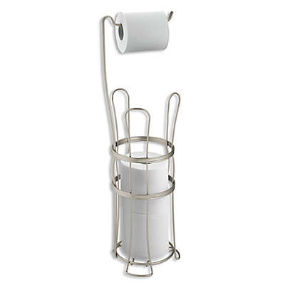 iDesign® York Lyra Freestanding 4-Roll Toilet Paper Holder in Satin Silver