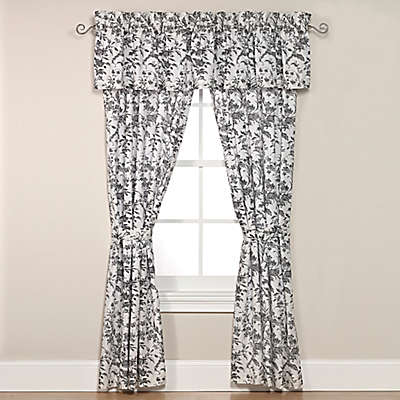 Laura Ashley® Amberley Rod Pocket Window Curtain Panel Pair And Valance in Black/White