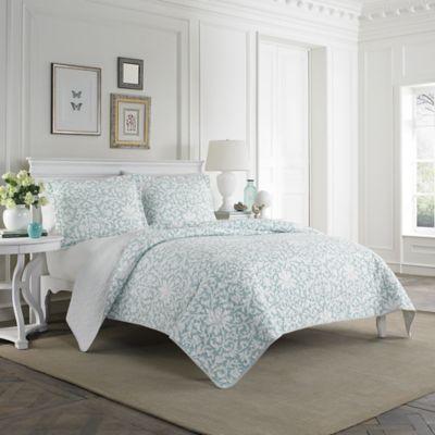 Laura Ashley 174 Mia Quilt Set In Light Blue Bed Bath Amp Beyond