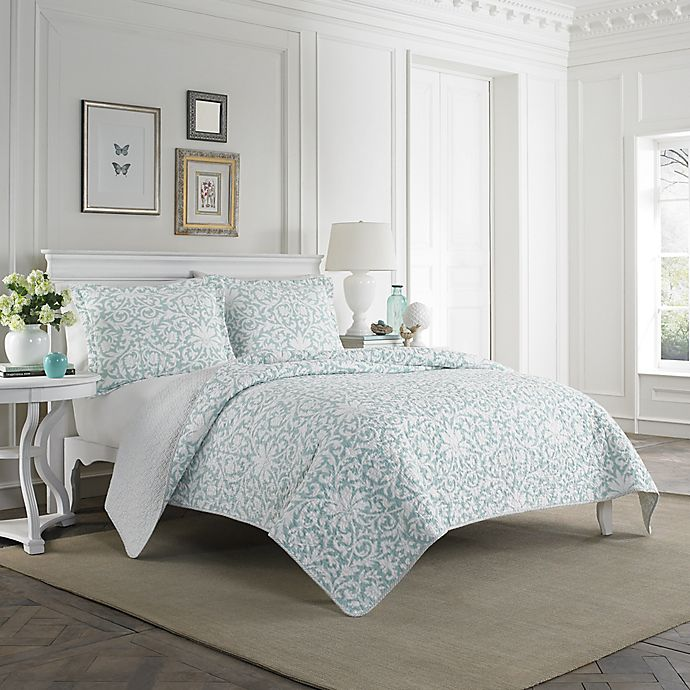 Laura Ashley 174 Mia Quilt Set In Light Blue Bed Bath Amp Beyond