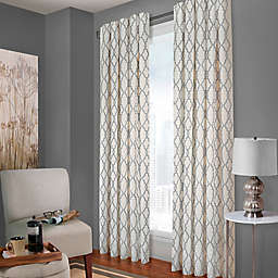 Designer's Select Claudia Geo Back Tab Window Curtain Panel in White/Charcoal