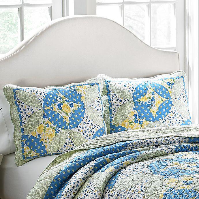 Laura Ashley® Belle Pillow Sham in Blue/Yellow | Bed Bath ...