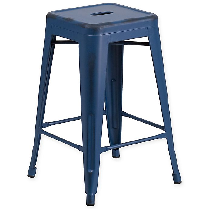 Alternate image 1 for Flash Furniture Backless Distressed Metal Indoor/Outdoor Counter Stool in Blue