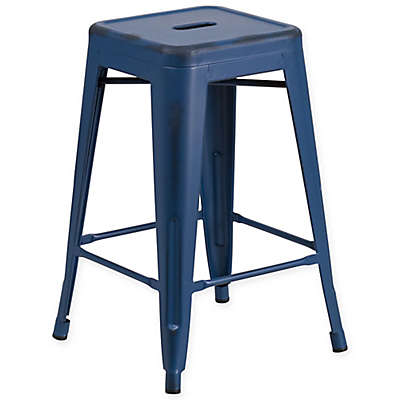 Flash Furniture Backless Distressed Stool