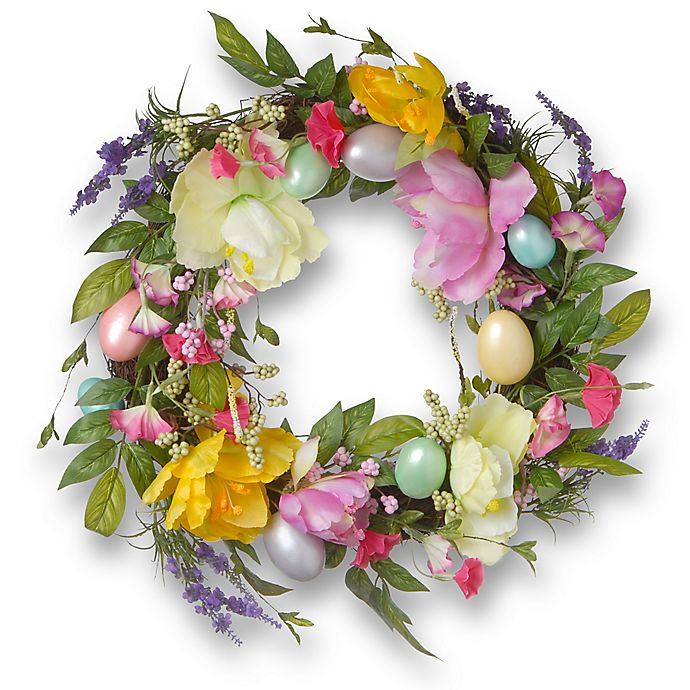 Alternate image 1 for National Tree Company 20-Inch Easter Eggs and Tulips Wreath