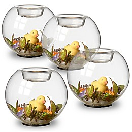 National Tree Company Yellow Duckling Glass Candleholders (Set of 4)