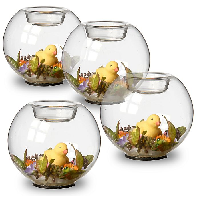 Alternate image 1 for National Tree Company Yellow Duckling Glass Candleholders (Set of 4)
