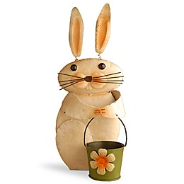 National Tree Company 23-Inch Metal Rabbit with Flower Pot