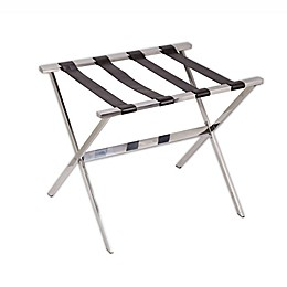 Stainless Steel Luggage Rack with Brown Straps
