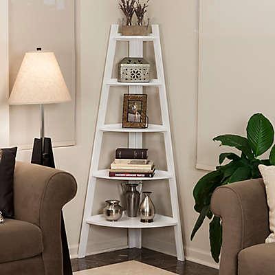 Wood 5-Tiered Corner Ladder Bookcase in White