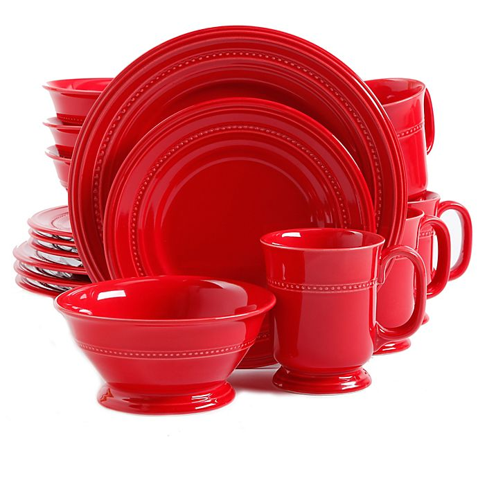Alternate image 1 for Gibson Elite 16-Piece Elite Barberware Dinnerware Set in Red