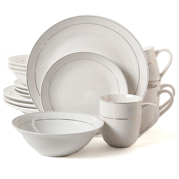 Alternate image 1 for Gibson Home Gold Home 16-Piece Dinnerware Set