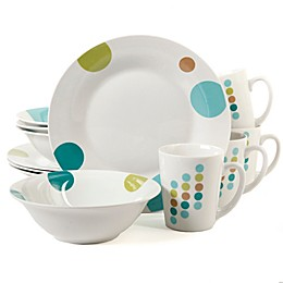 Gibson Home Home Retro Specks 12-Piece Dinnerware Set in White