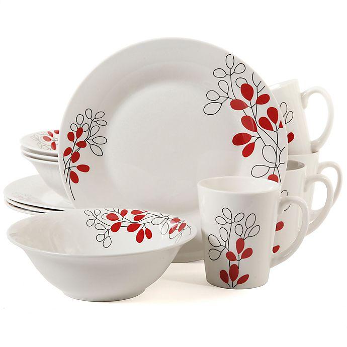 Alternate image 1 for Gibson Home Scarlet Leaves 12-Piece Dinnerware Set