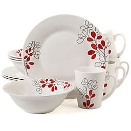 Gibson Home Scarlet Leaves 12-Piece Dinnerware Set