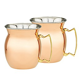 Old Dutch International 16 oz. Moscow Mule Mugs in Copper and Stainless Steel (Set of 2)