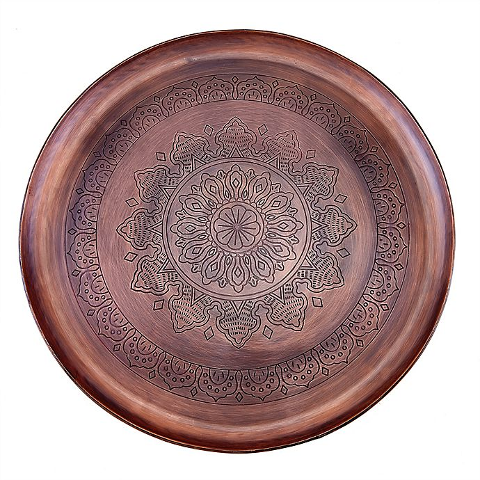 Alternate image 1 for Old Dutch International Casablanca Antique Copper Steel Round Tray in Antique Copper