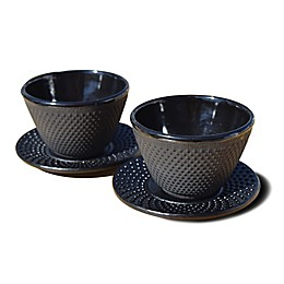 Old Dutch International Cast Iron Teacups and Saucers in Matte Black (Set of 2)