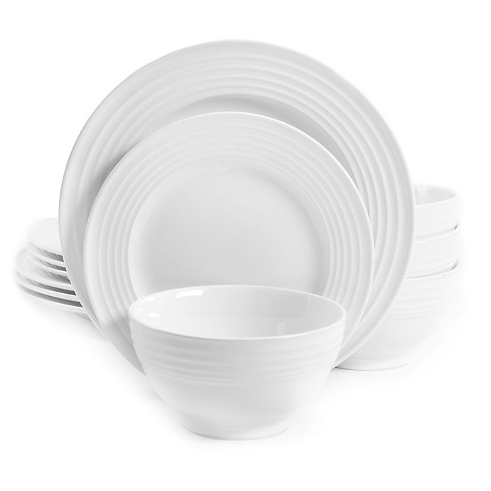 Alternate image 1 for Gibson Home Plaza Café 12-Piece Dinnerware Set in White
