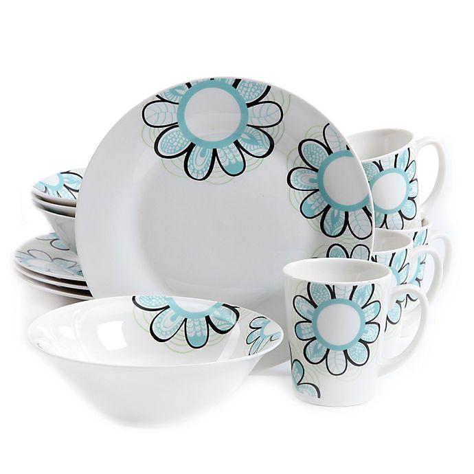 Alternate image 1 for Gibson Home Lush Blossom 12-Piece Dinnerware Set