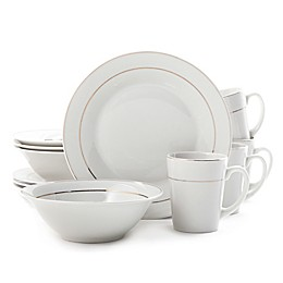Gibson Home Tuxedo Deluxe 12-Piece Dinnerware Set in White