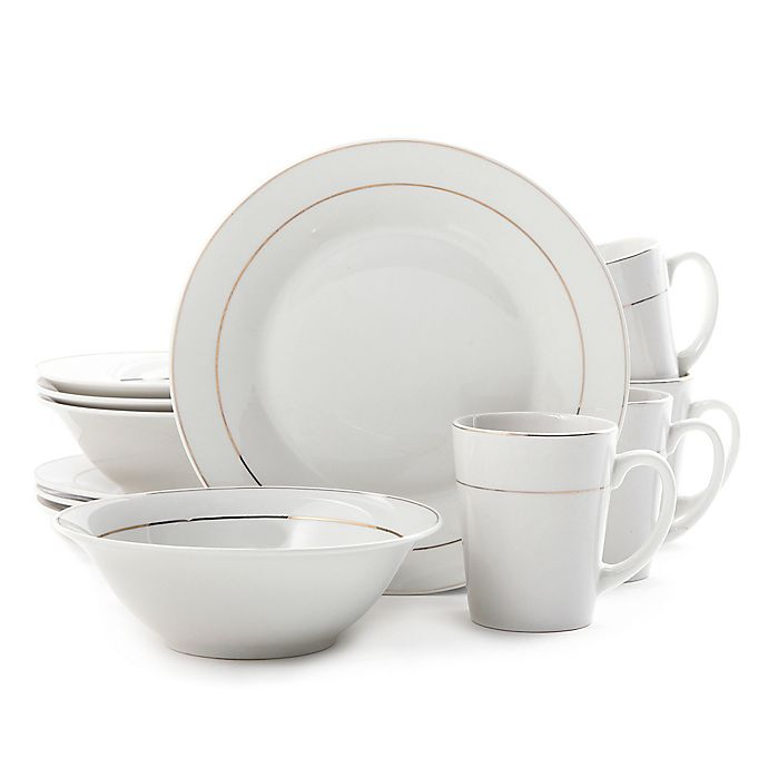 Alternate image 1 for Gibson Home Tuxedo Deluxe 12-Piece Dinnerware Set in White