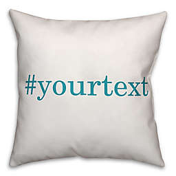 Designs Direct Serif Font Hashtag Square Throw Pillow in Teal